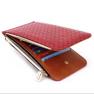 レザー 長財布 二つ折財布 カードケース 編み込み式 メンズ カード入れ 紅(折り財布)