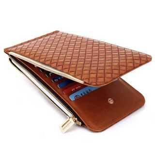 レザー 長財布 二つ折財布 カードケース 編み込み式 メンズ カード入れ 茶(折り財布)