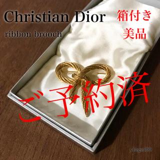 クリスチャンディオール(Christian Dior)のvintage◆Christian Dior◆リボン ブローチ ゴールド 箱付き(ブローチ/コサージュ)