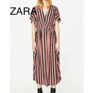 ZARA - ZARA ザラ   ピンク ストライプ ロング スリット 半袖ワンピース