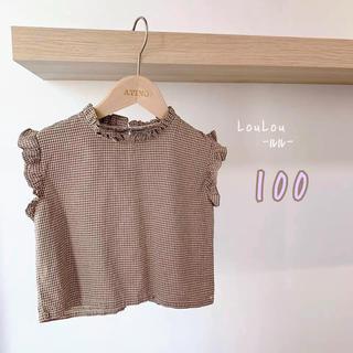 プティマイン(petit main)の☆大人気☆ フリルチェックノースリーブ 韓国子供服 100(Tシャツ/カットソー)