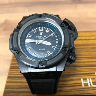 ウブロ(HUBLOT)の【超激極美品】ウブロ、ワンプッシュ式かなりごっついブラックの自動巻腕時計(腕時計(アナログ))