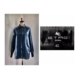エトロ(ETRO)の90s ETRO SATIN RIB SLEEVE BLOUSE エトロ サテン(シャツ/ブラウス(長袖/七分))