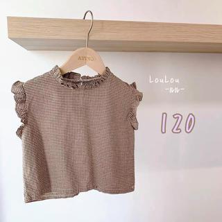 プティマイン(petit main)の☆大人気☆ フリルチェックノースリーブ 韓国子供服 120(Tシャツ/カットソー)