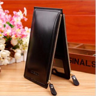 PUレザー カードケース 財布 大容量 ダブルファスナー ブラック(長財布)