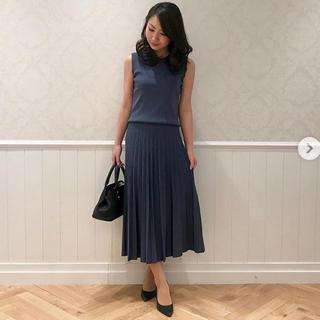 【ブラック】ニットプリーツスカート&ノースリーブニット