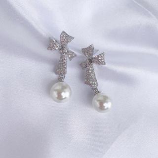 Chesty - リボンパールピアス silver #J32