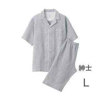 ムジルシリョウヒン(MUJI (無印良品))の無印良品   脇に縫い目のない ワッフル織り半袖パジャマ    紳士L・グレー(その他)