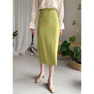 ディーホリック(dholic)のリブペンシルスカート ライム 緑 黄緑 リブニットスカート タイトスカート(ロングスカート)