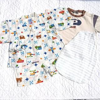 ミキハウス(mikihouse)のミキハウス 甚平上下&papp半袖Tシャツ&汗取りパット(80)4点セット(甚平/浴衣)