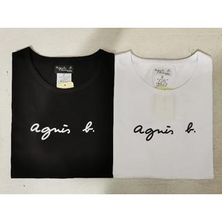 アニエスベー(agnes b.)のアニエスベー Tシャツ レディース 半袖 Lサイズ  ブラック+ホワイト(Tシャツ(半袖/袖なし))