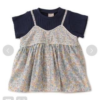 プティマイン(petit main)の小花柄 ドッキングテレコ Tシャツ プティマイン 100(Tシャツ/カットソー)