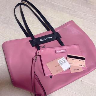 ミュウミュウ(miumiu)のMIUMIU バイカラー トート grace lux ピンク ブラック(トートバッグ)