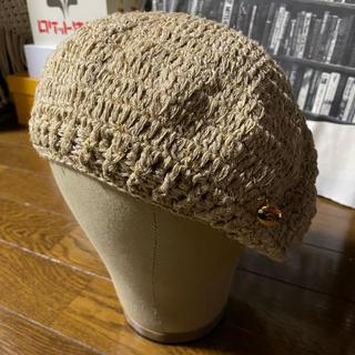 アーノルドパーマー(Arnold Palmer)の夏に使える綿麻ベレー⭐︎ベージュ(ハンチング/ベレー帽)