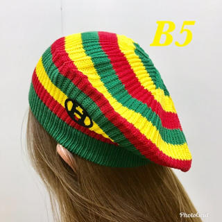 新品☆綿ニット❤︎マルチボーダー柄❤︎ベレー帽〜MB–003–ラスタカラー⑤(ハンチング/ベレー帽)