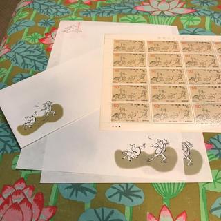 鳥獣戯画 封筒1枚 便箋2枚 切手シート(カード/レター/ラッピング)