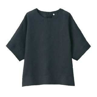 MUJI (無印良品) - ◎新品◎ 無印良品 オーガニックリネン 洗いざらし半袖ブラウス/M~L/黒