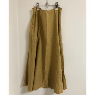 ムジルシリョウヒン(MUJI (無印良品))の無印良品 フレアースカート フレンチリネン XL マスタード(ロングスカート)
