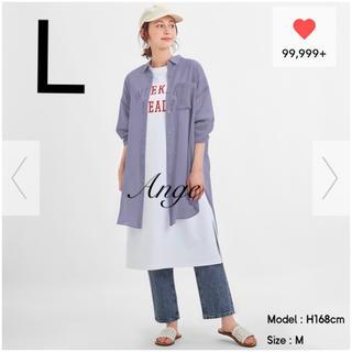 GU - GU シアーロングシャツ パープル L