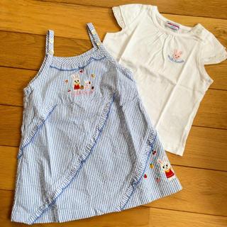 ミキハウス(mikihouse)の③ミキハウス ワンピース80 tシャツ90セット(ワンピース)