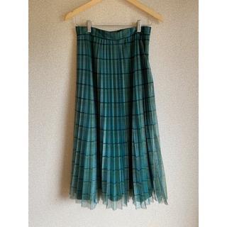 ザラ(ZARA)のZARA_グリーンチェックチュールスカート(ロングスカート)