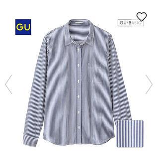 GU - GU ウォッシュ ブロードシャツ ストライプ L
