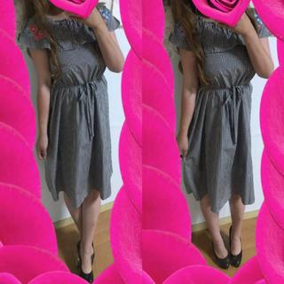 クチュールブローチ(Couture Brooch)のCouture brooch♡お花刺繍♡ギンガムチェックワンピース♡L(ひざ丈ワンピース)