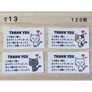 サンキューシール*T13 ねこ4種 120枚(その他)