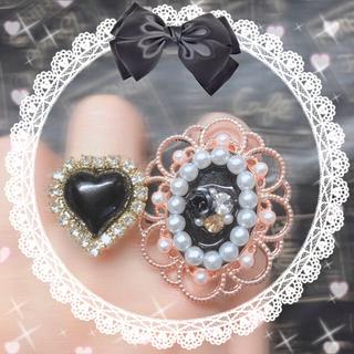 エブリン(evelyn)の【カスタマイズ♡】୨୧漆黒の薔薇パールリング➁& お好きなハートリングセット୨୧(リング)