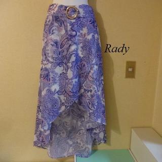 レディー(Rady)のRadyレディ♡パープル花柄アシンメトリースカート(ひざ丈スカート)