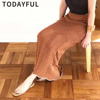 トゥデイフル(TODAYFUL)の試着のみ 美品 タグ付き Lacy Knit Skirt Todayful(ロングスカート)