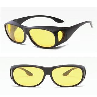 257 ゴーグルサングラス 偏光 眼鏡の上から ブラックフレームにイエローレンズ(サングラス/メガネ)