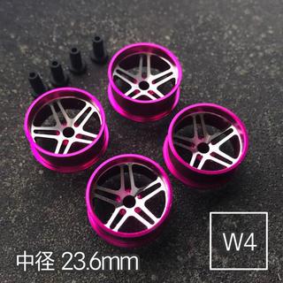 ミニ四駆 アルミホイール 4個セット (中径5Dスポーク)ピンク(模型/プラモデル)
