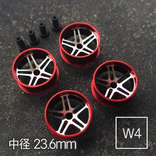 ミニ四駆 アルミホイール 4個セット (中径5Dスポーク)レッド(模型/プラモデル)