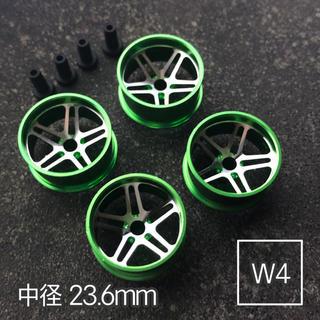 ミニ四駆 アルミホイール 4個セット (中径5Dスポーク)グリーン(模型/プラモデル)