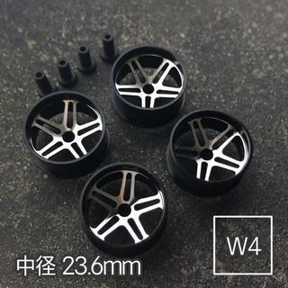 ミニ四駆 アルミホイール 4個セット (中径5Dスポーク)ブラック(模型/プラモデル)