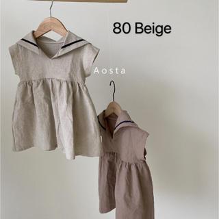 韓国子供服* Aosta夏新作*Sailor linen ワンピース*Beige(ワンピース)