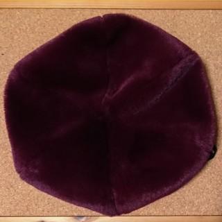 ライトオン(Right-on)のRight-on ファー ベレー帽 帽子 ワインレッド 深紅 赤 ボルドー 赤紫(ハンチング/ベレー帽)