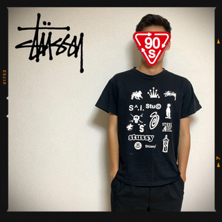 STUSSY - 90s オールドステューシー STUSSY  USA ロゴTシャツ ブラック