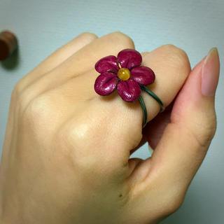 本革 お花 リング(リング(指輪))