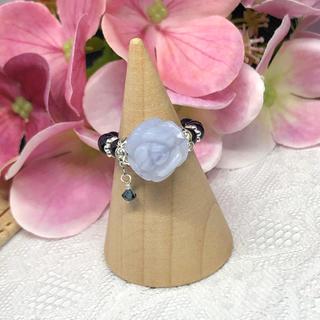 天然石リング 指輪 ハンドメイド ブルーレース No.160(リング)