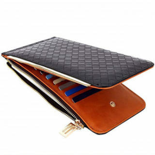 232 財布 メンズ 二つ折り ファスナー 大容量 コンパクト 薄型 レザー 黒(折り財布)