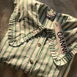 Ron Herman - Ganni コットンブラウス ホワイト×グリーン フリル 長袖 ガニー