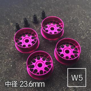ミニ四駆 アルミホイール 4個セット (中径フィン)ピンク(模型/プラモデル)