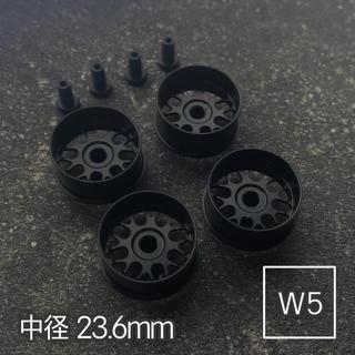 ミニ四駆 アルミホイール 4個セット (中径フィン)ブラック(模型/プラモデル)
