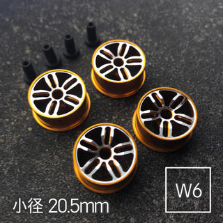 ミニ四駆 アルミホイール 4個セット(小径ツインスポーク)オレンジ(模型/プラモデル)