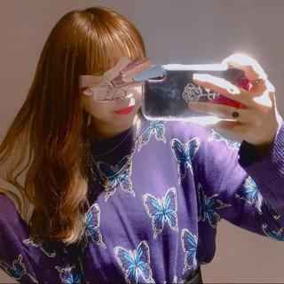 SPINNS 紫 蝶 ニット