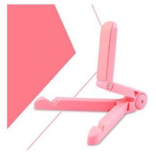 【ピンク】折りたたみタブレット PC スマートフォン角度調節可能(その他)