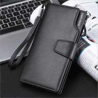 長財布 ブラック 大容量 収納 PUレザー 二つ折り カード 小銭入れ メンズ(長財布)