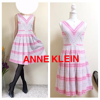 アンクライン(ANNE KLEIN)の美品!Anne Klein アンクライン ワンピース サイズ4 S〜M ピンク白(ひざ丈ワンピース)